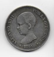 ESPAGNE - 5 PESETAS ARGENT 1891 - Eerste Muntslagen