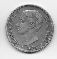 ESPAGNE - 5 PESETAS ARGENT 1876 - Premières Frappes