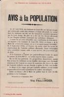 - Guerre En Lorraine En 1914-1915 - Avis à La Population - Affiche Placardée Sur Les Murs à Lunéville 869G - Guerre 1914-18