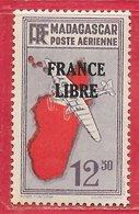 Madagascar PA N°49 12F50 Violet, Rouge & Noir 1942 ** - Madagascar (1889-1960)