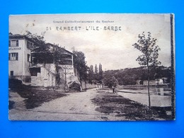 CPA   SAINT RAMBERT L' ILE BARBE-GRAND CAFE RESTAURANT DU ROCHER - France