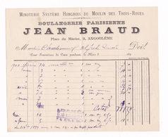 Lot De 2 Factures Boulangerie Parisienne Jean Braud, Place Du Mûrier, Angoulême (Charente), 1899 - Alimentaire