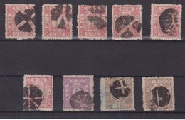 JAPON : N° 40 , 41, 45 . 9 EX . OBL . AB A TB . 1875 . - Japan