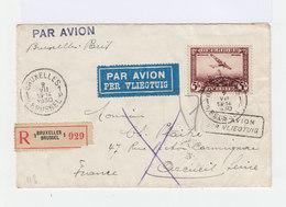 Timbre Poste Aérienne 5 Fr. 1930.sur Enveloppe. Recommandé. Cachet Bruxelles 1930. (531) - Poste Aérienne