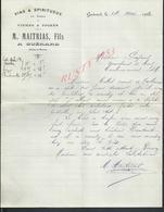 LETTRE COMMERCIALE DE 1920 M MAITRIAS VINS & SPIRITUEUX CIDRES & POIRÉS A GUÉRARD 77 SUJET PEUPLIERS & BOIS : : - France