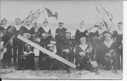 Groupe De Marins Français Musiciens Galipolli Corfou Moudros Salonique 1 Carte Photo Ww1 14-18 1914/1918 - Guerra, Militari