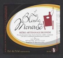 Etiquette De Bière Blonde  -  Brasserie La Moneuse  à  Saint Waast  (59) - Bière