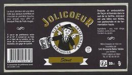 Etiquette De Bière Noire  -  Joli Coeur  -  Brasserie Belle Vallée  à  Laigné En Belin  (72) - Bière