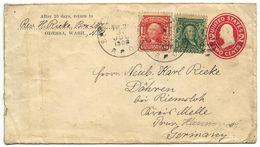 United States 1908 Uprated Postal Envelope Odessa, Washington To Döhren Bei Riemsloh, Germany - Postal Stationery