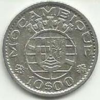10 Escudos 1955 Moçambique Silver - Mozambique