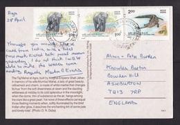 India: PPC Picture Postcard To UK, 1987, 3 Stamps, Crocodile, Elephant, National Park, Card: Taj Mahal (traces Of Use) - India