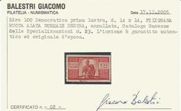 Repubblica Italiana, Lire 100 Democratica 1a Lastra, Fiigrana Ruota Alata Normale Destra. - 6. 1946-.. Repubblica