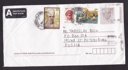 India: Stationery Cover To Russia, 2002, 3 Extra Stamps, Archeology, Animal Sculpture, Famous Men (minor Crease) - India