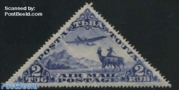 Tuva 1934 2T, 60x30mm, Stamp Out Of Set, (Unused (hinged)), Deer - Aircraft & Aviation - Nature - Transport - Tuva