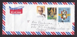India: Cover To Netherlands, 2002, 3 Stamps, Human Rights, Famous People, Gandhi, Luther King, Teresa (minor Damage) - India