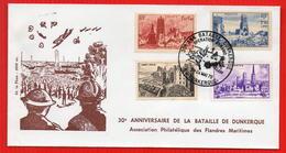 FDC 30EME ANNIVERSAIRE BATAILLE DE DUNKERQUE RARE - Seconda Guerra Mondiale