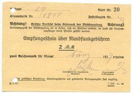 Germany 1929 Empfangsschein über Rundfunkgebühren - Germany