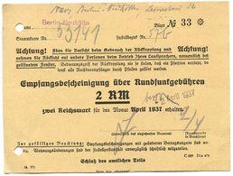 Germany 1937 Berlin-Neukölln, Empfangsbescheinigung über Rundfunkgebühren - 1900 – 1949
