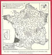 Répartition Des Dispensaires Tuberculeux En France En 1928, Carte Dressée Par M Moine,  Larousse Médical 1929 - Other