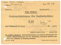 Germany 1944 Berlin-Neukölln, Empfangsbescheinigung über Rundfunkgebühren - 1900 – 1949