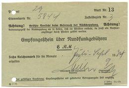 Germany 1934 Empfangsschein über Rundfunkgebühren - 1900 – 1949