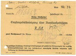 Germany 1944 Berlin-Neukölln, Empfangsbescheinigung über Rundfunkgebühren - Germany