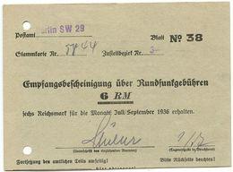 Germany C.1936 Berlin, Empfangsbescheinigung über Rundfunkgebühren - 1900 – 1949