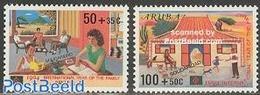 Aruba 1994 Solidarity 2v, (Mint NH), Art - Books - Nature - Dogs - Cats - Postzegels