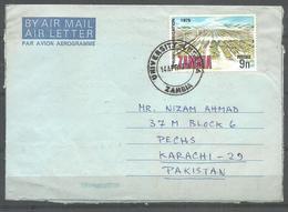 USED AIR MAIL AEROGRAMME ZAMBIA TO PAKISTAN - Zambia (1965-...)