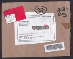 India: Registered Cover To Netherlands, 2009, ATM Machine Label, Dutch Cancel, Label Not At Home (traces Of Use) - India