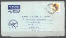 USED AIR MAIL AEROGRAMME ZAMBIA TO ENGLAND - Zambia (1965-...)