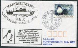 1999 AAT Japan Antarctic Penguin HAKUREI MARU Ship Cover. Geological Survey, Freemantle WA - Polar Ships & Icebreakers
