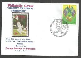 PAKISTAN SPECIAL  PHILATELIC COVER ON CRICKET  1989   CRICKET EXHIBITION - Cricket