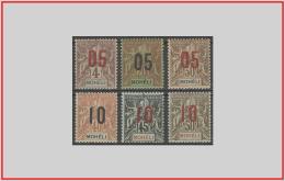 Moheli 1912 - Cat. 17/22 (MLH *) Sovrastampati - Overprinted (011135) - Unused Stamps