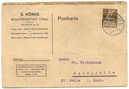 Germany, Bavaria 1921 Postcard Schifferstadt - S. König To Ostenfelde, Scott 261 - Bavaria