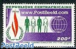 Central Africa 1968 Human Rights 1v, (Mint NH), History - Human Rights - United Nations - Repubblica Centroafricana