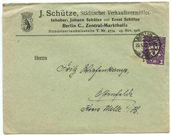 Germany 1922 Cover Berlin - J. Schütze, Städtischer Verkaufsvermittler T Ostenfelde - Germany
