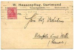 Germany 1921 Postcard Dortmund - W. Hassenpflug, Versandgeschäft, Scott 124 - Deutschland