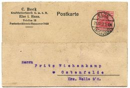 Germany 1921 Postcard Elze I. Hannover - C. Beck, Kraftutterfabrik, Scott 124 - Deutschland