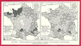Mortalité Générale Par Département En 1913 Et 1927, Cartes Dressées Par M Moine, Larousse Médical 1929 - Other