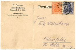 Germany 1920 Postcard Gnadenfrei To Ostenfelde, Scott 84 & 119 Germania - Deutschland