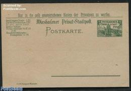 Germany, Empire 1900 Postcard Wiesbadener Privat Stadtpost 2pf, (Unused Postal Stationary), Stamps - Deutschland