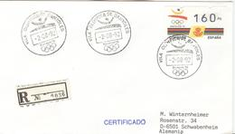 SPAIN Registered Cover With Olympic Stamp And Olympic Cancel Vila Olimpica De Banyoles - Verano 1992: Barcelona