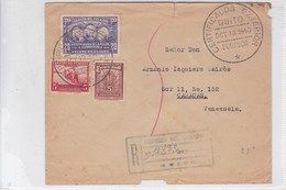 SOBRE ENVELOPE CIRCULEE QUITO TO CARACAS 1940, RECOMMANDE AVEC LACRE. ECUADOR.-BLEUP - Equateur