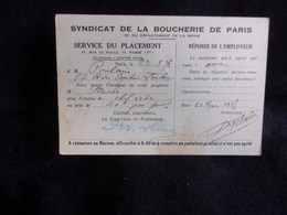 Métiers . Syndicat De La Boucherie De Paris .Voir 2 Scans . - Syndicats