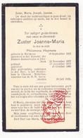DP EZ Philomena Heymans - Zr. Joanna ° Malderen Londerzeel 1855 † Chenois Waterloo 1935 / Klooster Itterbeek Dilbeek - Devotion Images