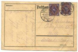Germany 1923 Postcard Brackwede To Ostenfelde, Scott 182 Post Horn X 2 - Germany