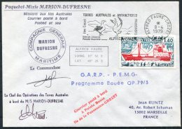 1979 TAAF Antarctic Alfred Faure Paquebot Marion Dufresne Ship Cover. Albatros G.A.R.P. - Covers & Documents