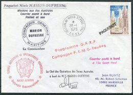 1979 TAAF Antarctic Paquebot Marion Dufresne Ship Cover. Martin De Vivies - French Southern And Antarctic Territories (TAAF)