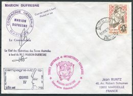1979 TAAF Antarctic Paquebot Marion Dufresne Ship Cover. OSIRIS 4 Durban, South Africa - French Southern And Antarctic Territories (TAAF)